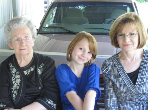 Mama Rea, Sophie, and Aunt Sue on the occasion of Daddy Jack's funeral in Nov. 2010.